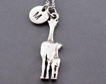 Giraffe necklace, Giraffe mom and baby, Giraffe charm, Silver giraffe, Mom and daughter, initial necklace, personalized, monogram