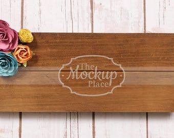 Wood sign   Paper flowers   Color Flowers   Mockup  