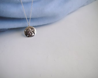 Sterling Silver Sand Dollar Necklace, Nautical Necklace, Silver Layering Necklace