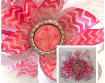 Love Pink Chevron Boutique Bow