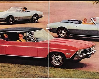 Two page 1968 Chevrolet New Car lineup