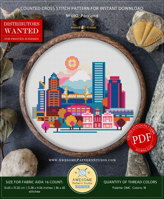 Portland Cross Stitch Pattern For Instant Download P092