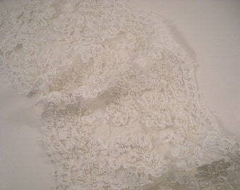 """White Delicate Floral Pattern Alencon Lace Trim with Pearls 6.5"""" Wide--One Yard"""
