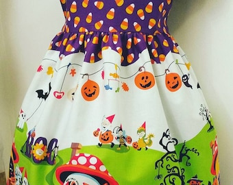 Girl's Halloween Dress - Gnomeville - Size 6x - Candy Corn - with 2 Headbands
