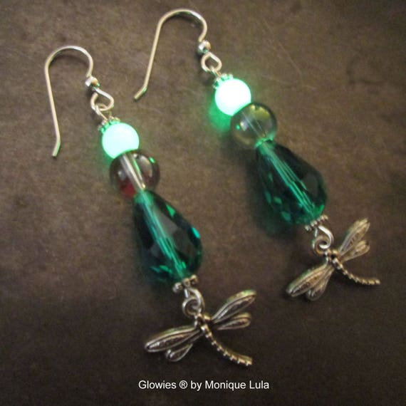 Dragonfly Earrings, Emerald Crystal Teardrops, Glow in the Dark Beads, Rainbow Glass Bubble, Glowing Jewelry, Sterling Silver Hooks, Glowies