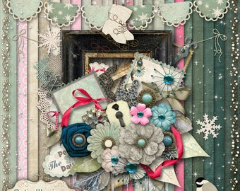 WINTER WHITE - Digital Scrapbooking Kit - 22 Papers and 60 Plus Elements -5.00