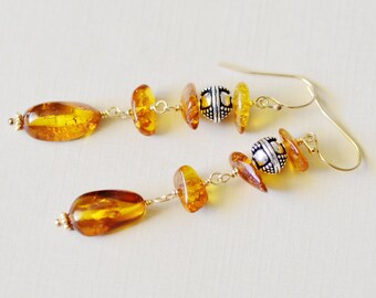 Amber Gold Earrings - Natural Amber - 14k Gold Filled - Bali Sterling Silver - Wire Wrapped - Shepherd Earwire