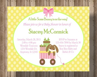 SPRING BABY SHOWER Invitation For Girl / Bunny Rabbit Pink and Yellow Polka Dot Baby Shower Invitation / Bunny Baby Shower
