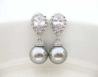 Light Grey Pearl Earrings Bridal Pearl Earrings Wedding Jewelry Swarovski 10mm Round Pearl Cubic Zirconia Earrings Bridesmaid Gift (E014)