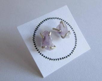 Amethyst claw set earrings raw amethyst studs posts sterling silver stud earrings handmade