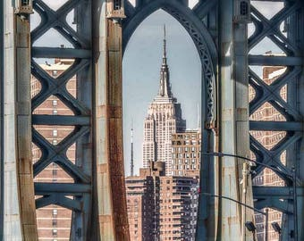 Empire State Building Framed by the Manhattan Bridge DUMBO Brooklyn