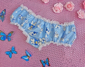 Cute Teddy Panties - Pastel Blue Sheep Knickers - DDlg - DDlg Panties - Adult Baby - Sissy Lingerie - Sissy Boy - Frilly Knickers Pants