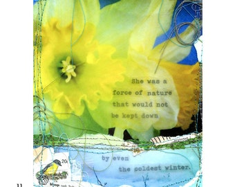"""Mixed media collage print """"Force of Nature"""""""