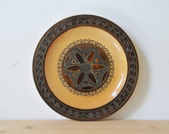 Vintage wooden wall plate, hand made wooden plate, floral wooden plate, decorative plate, bohemian wall decor, CAS160