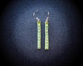 Metallic Green Leather with Swarovski Crystals