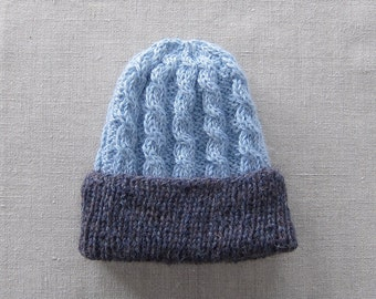 Knit Hat of Superfine Alpaca in Sky Blue and Dark Blueberry