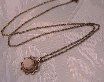 Vintage Coral Rose GF Necklace, Signed