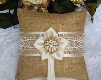 Rustic Ring Bearer Pillow - Burlap Wedding Pillow - Rustic Wedding Ceremony Accessories