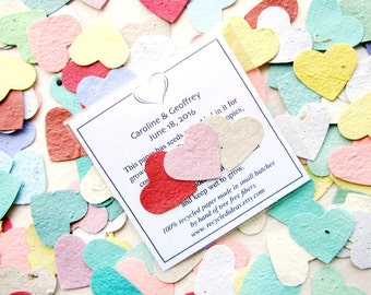 150 Plantable Paper Wedding Favors - Flower Seed Paper Hearts Packets - Custom Printed Cards - Seed Envelopes
