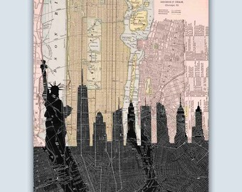 New York Skyline, New York City Print, New York City Map, Personalized Skyline Print, NYC Map, NYC Print, NYC Skyline, New York Decor