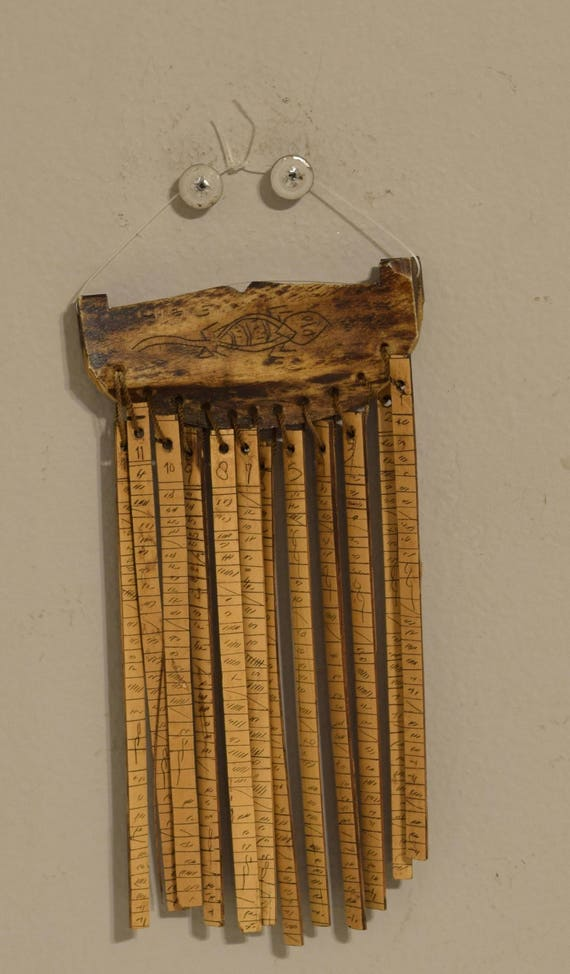 "Sumtra Calendar Bone Bamboo Batak People Luna 12 Month Shaman Calendar 7"""