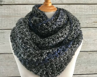Oversized Infinity Gray and Blue Scarf