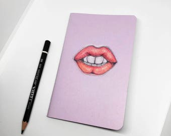 Lips Cover Sketchbook, Custom Design Lilac, Pastel Purple Pocket Size Small Plain Page Notebook, Journal, Red Lip Artwork
