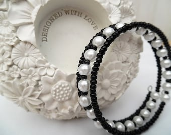 Black and White Beaded Wrap Bracelet, Pearl Bracelet, Stacking Bangle Style Bracelet, Bead Jewelry, One Size Fits All, Gift For a Friend