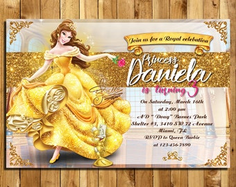 Beauty and the Beast Invitation, Beauty and the Beast Birthday, Princess Belle Invites, Beauty and the Beast Thank You| MSBE_1