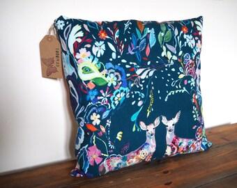 """Floral Cushion / Decorative Pillow. Handmade Pillow Cover 18"""" Cushion Cover, Animal Cushion, Teal Pillow, Cushion Cover, Throw Pillow"""