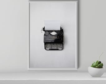 Typewriter wall art, Typewriter Print, Scandinavian Print, Modern wall art, Black and white print, wall decor,  Gift for writers, Printable