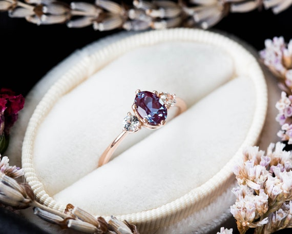 Alexandrite sapphire three stone 14k gold engagement ring, alexandrite engagement ring, alternative bridal, alexandrite rose gold ring