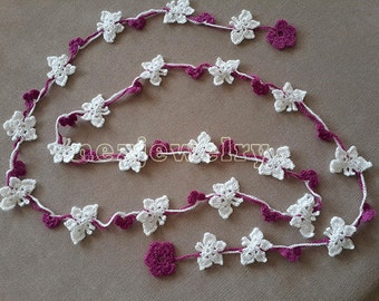 Butterfly Scarf Pattern, Crochet Scarf Pattern, Tutorial Crochet, DIY Project, Butterfly Pattern, Flower Scarf Lariat, Lariat Necklace