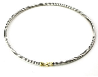 David Yurman 3mm Buckle Choker Necklace in Sterling Silver with Gold