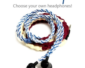 Custom Earbuds - Wrapped Tangle Free USA American Flag Earphones - Apple iPhone 8 Earpods, Android Headphones Sony Skullcandy - Unique Gift