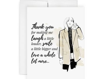 Laugh & Smile - Greeting Card, Fashion Illustration, Thank You Card, Blessed, Support, Thank You Card