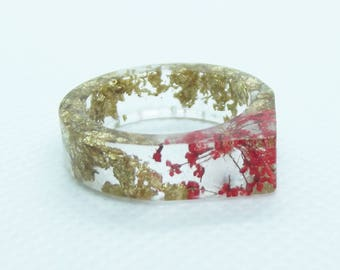 Real flower and gold leaf resin ring