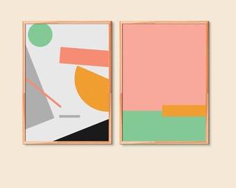 Set of 2 Geometric Large Print Wall Art | Pastel Printable Art | Minimal Large print 50 x70 cm