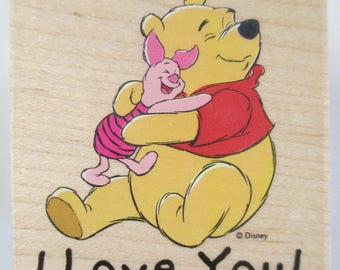 "Rubber Stamps Pooh ""I  Love You"" For card making  Slightly used good condition"