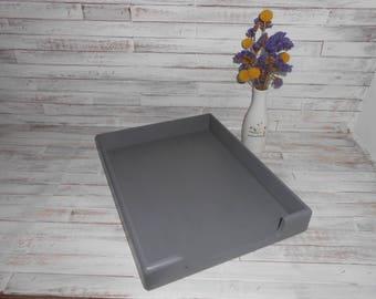 Wood Desk Tray-Desk Paper Organizer-Office Organizer-Gray Paper Tray-Farmhouse Desk Tray Organizer- Wood Desk Paper Tray- Wood Paper Tray