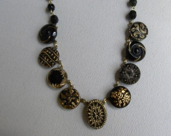 Vintage BUTTON Necklace West German Glass awesome oval shaped center Sale was 110.00