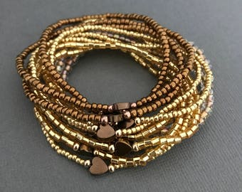 Gold Heart Bracelet Stack