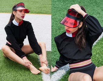 Black Cropped Sweatshirt with White & Red Turtleneck and Band XS S M L XL XXL