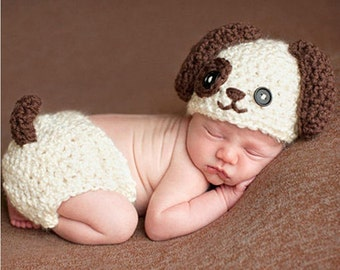 Newborn or 0-3 Months Baby Boy PUPPY LOVE Crochet Doggy Hat Diaper Cover with Tail u0026 Paw Booties Dog Hat Slippers  sc 1 st  Etsy & Newborn dog costume | Etsy