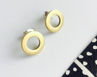 Circular Brass and Silver Stud Earrings, Modern Studs, Minimalist Studs, Chunky Circle Studs, Modern Earrings, Modern Studs