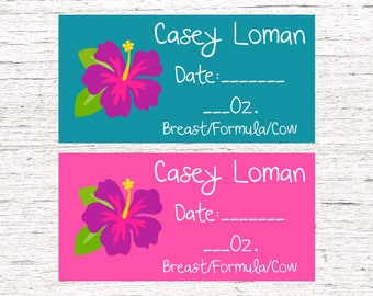 80 Dishwasher-Safe Removable Baby Bottle Labels -  Personalized breast milk labels for daycare - Flowers