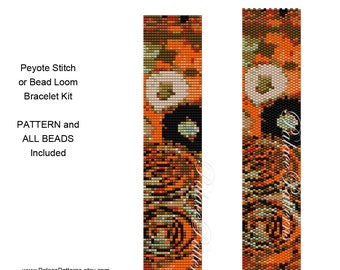 Klimt Inspired Peyote Stitch or Bead Loom Bracelet KIT - KlimtAltered3 Kit - 12 Delica Color Beads Included with Printed Pattern