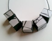 Painted Wood Necklace In Silver