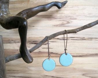 Bright Blue Earrings, Dangle Earrings, Robins Egg Blue Drop Earrings, Copper Enamel Jewelry, Nickel Free Kidney Earwires, Handmade Earrings