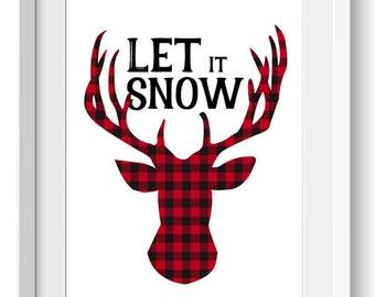 Plaid Deer Printable, Winter Printable Art, Holiday Deer Printable Art, Holiday Deer Print, Let it snow, Let it Snow Print art